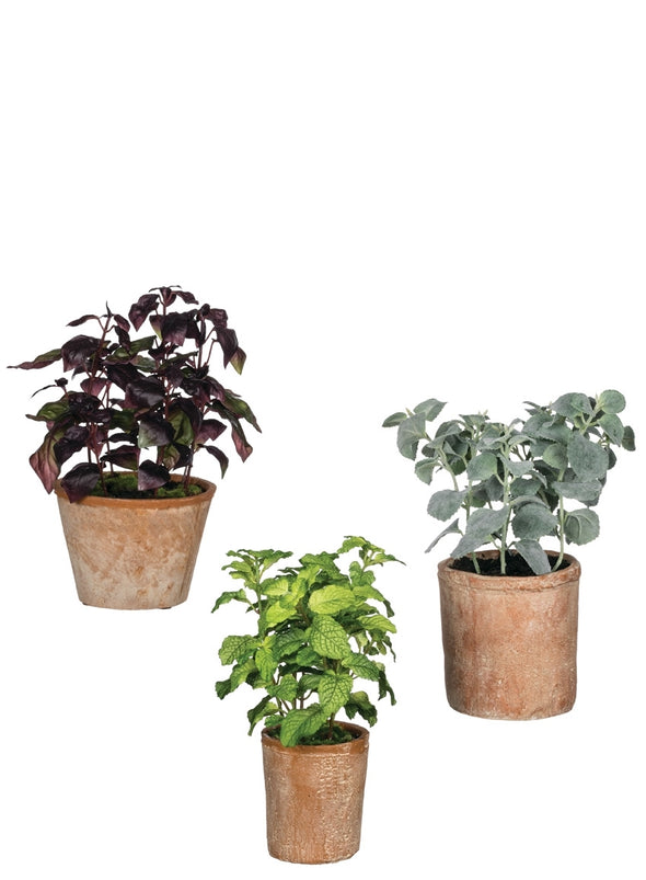Faux Herb Potted Plants, 3 Styles Available