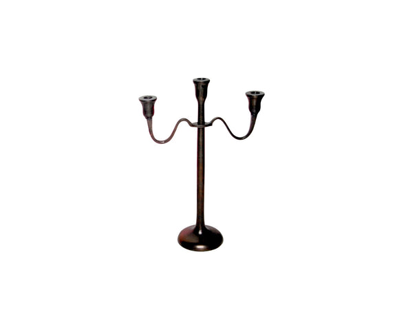 SMALL CAST ALUMINUM 3-ARM CANDLE HOLDER