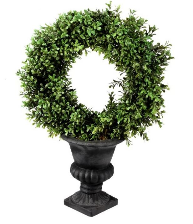 "21"" Plastic Boxwood Wreath in Urn"