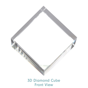Optic Crystal 3D Diamond Cube - Front View