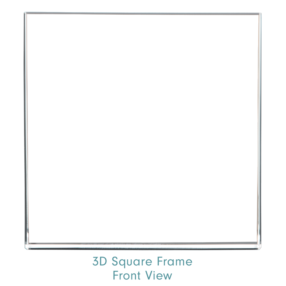 Optic Crystal 3D Square Frame - Front View