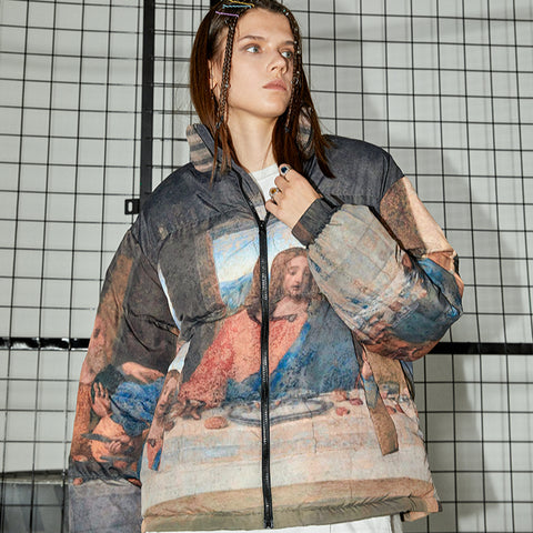 Last Supper Puffer Jacket - 'I Don't Smoke' Donsmoke Streetwear