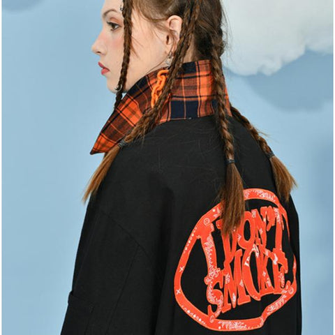 "Plaid Accent Logo Jacket - Donsmoke ~ ""I Don't Smoke"" Chinese Streetwear"
