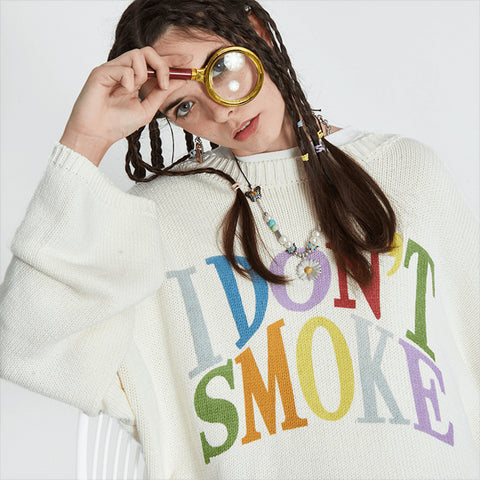 Multi-Color Logo Sweater - 'I Don't Smoke' Donsmoke Streetwear