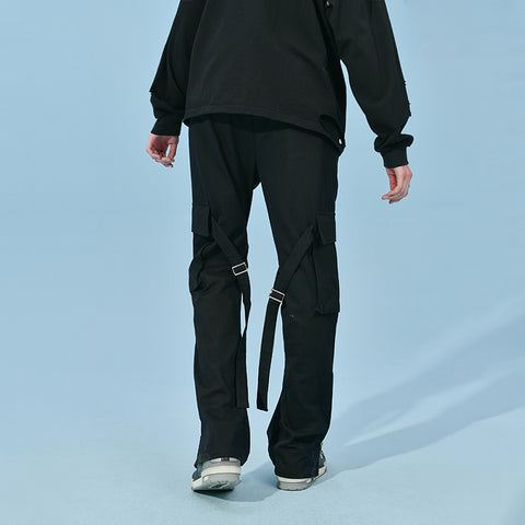 "Zipper Flare Cargo Pants - Donsmoke ~ ""I Don't Smoke"" Chinese Streetwear"