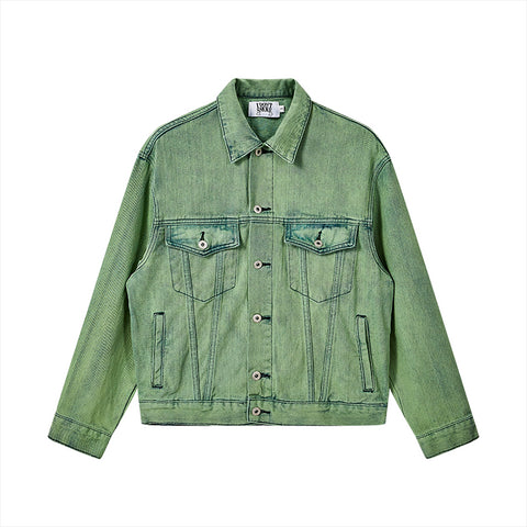 Matcha Bleach Dye Denim Jacket - 'I Don't Smoke' Donsmoke Streetwear