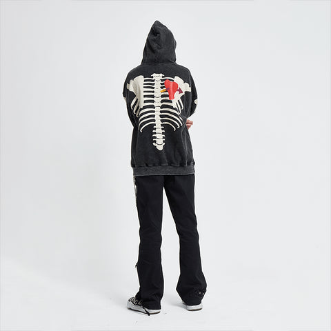 Washed Skeleton Body Hoodie - 'I Don't Smoke' Donsmoke Streetwear