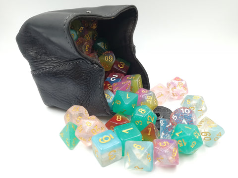 Handmade Real Leather Dice Pouch - Black