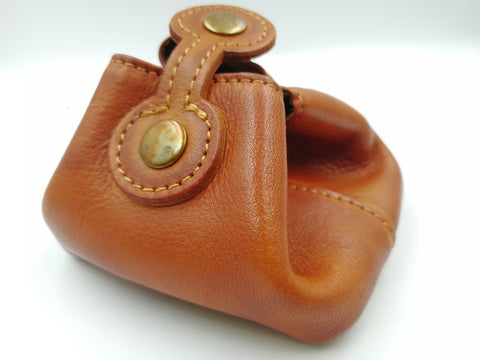 Handmade Real Leather Dice Pouch - Natural