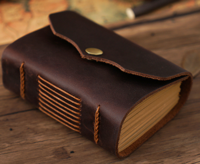 Handmade Real Leather Bound Notebook - Tanned