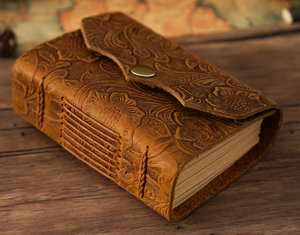 Handmade Real Leather Bound Notebook - Patterned