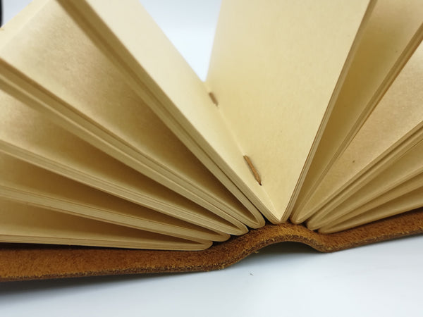 Handmade Real Leather Bound Notebook - Natural