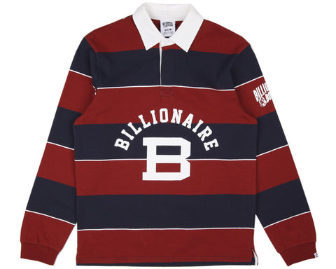 BBCICECREAM LONG-SLEEVE STRIPED RUGBY SHIRT - MAROON/NAVY