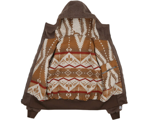 REVERSIBLE WOOL ZIP HOOD - BROWN