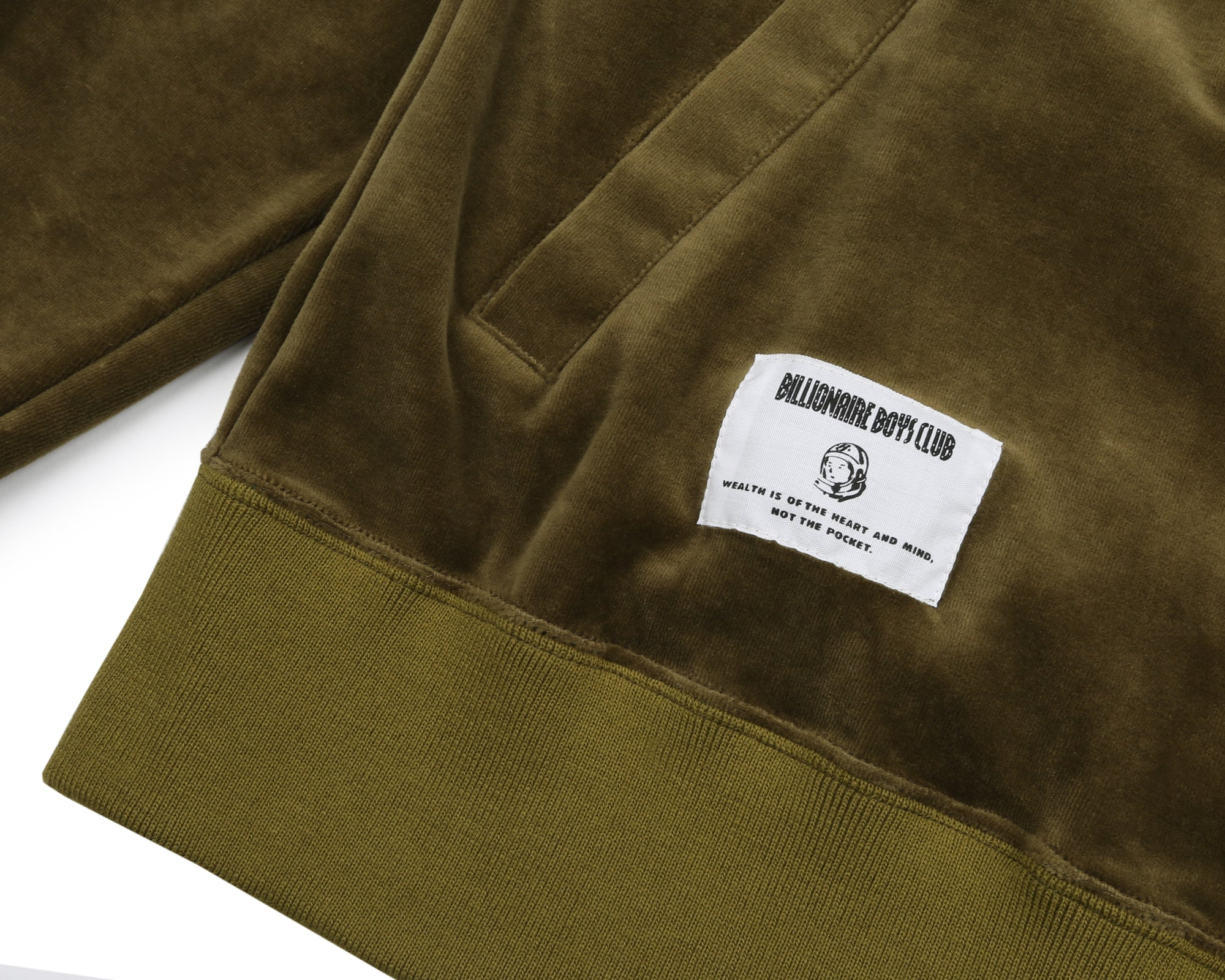 VELOUR 1/2 ZIP TRACK TOP - OLIVE