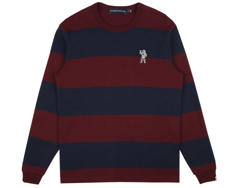 Billionaire Boys Club Pre-Spring '19 STRIPED WAFFLE KNIT L/S T-SHIRT - BLUE/RED