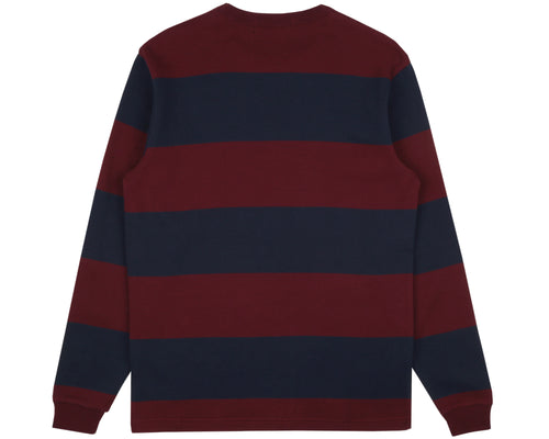 STRIPED WAFFLE KNIT L/S T-SHIRT - BLUE/RED