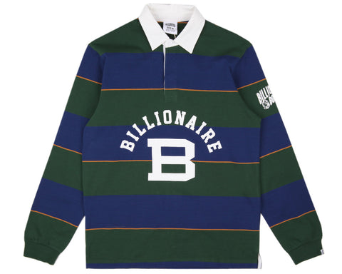 Billionaire Boys Club LONG-SLEEVE STRIPED RUGBY SHIRT - FOREST GREEN/BLUE