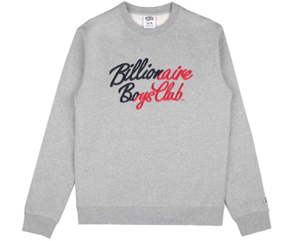 Billionaire Boys Club Spring '17 SCRIPT LOGO EMBROIDERED CREWNECK - HEATHER GREY