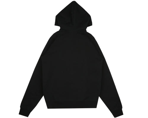 RUBBERISED LOGO ZIP THROUGH HOOD - BLACK