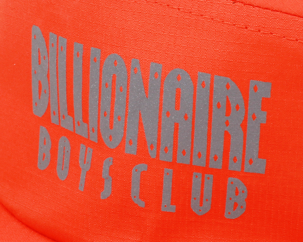 Billionaire Boys Club Fall '17 5 PANEL STRAIGHT LOGO PRINT CAP - CYBER ORANGE
