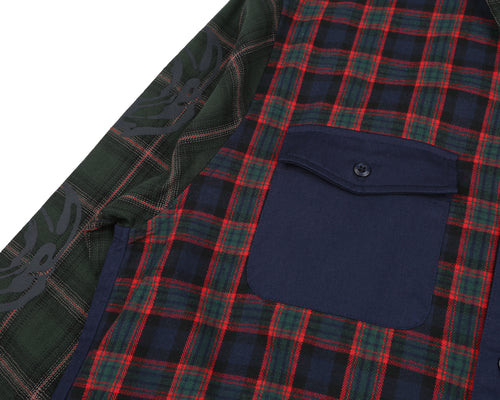 CUT & SEW CHECK SHIRT - NAVY