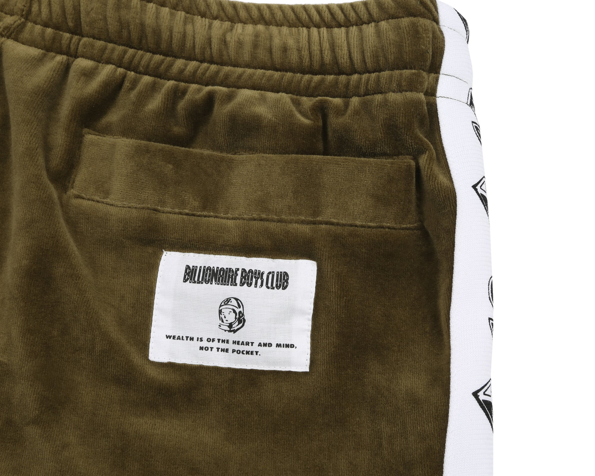 VELOUR TRACK PANTS - OLIVE