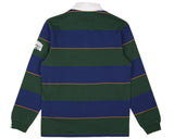 BBCICECREAM LONG-SLEEVE STRIPED RUGBY SHIRT - FOREST GREEN/BLUE