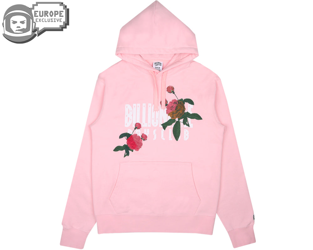EMBROIDERED FLORAL POPOVER HOOD - PINK