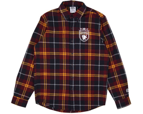 Billionaire Boys Club CREST CHECK SHIRT - BURGUNDY CHECK