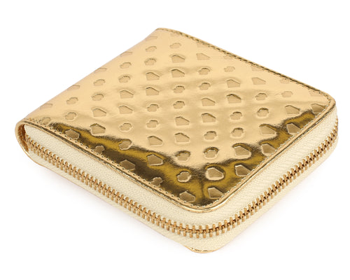 DIAMONDS & DOLLARS LEATHER WALLET - GOLD