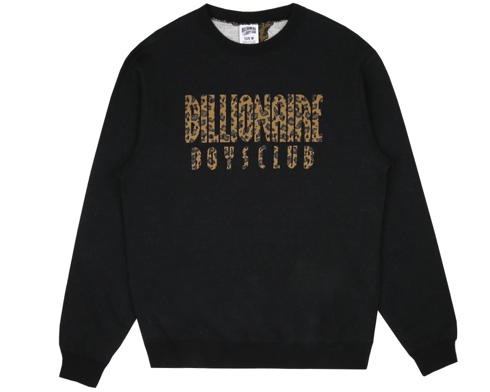 STRAIGHT LOGO REVERSIBLE CREWNECK - BLACK