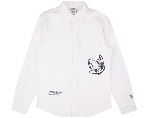 Billionaire Boys Club MANTRA PATCH OXFORD SHIRT - WHITE