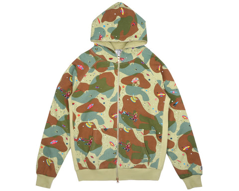 Billionaire Boys Club Fall '17 ALL OVER SPACE CAMO ZIP-THROUGH HOOD - BEIGE