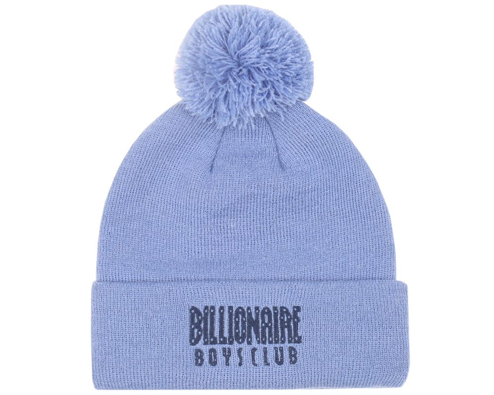KNITTED BOBBLE BEANIE - POWDER BLUE