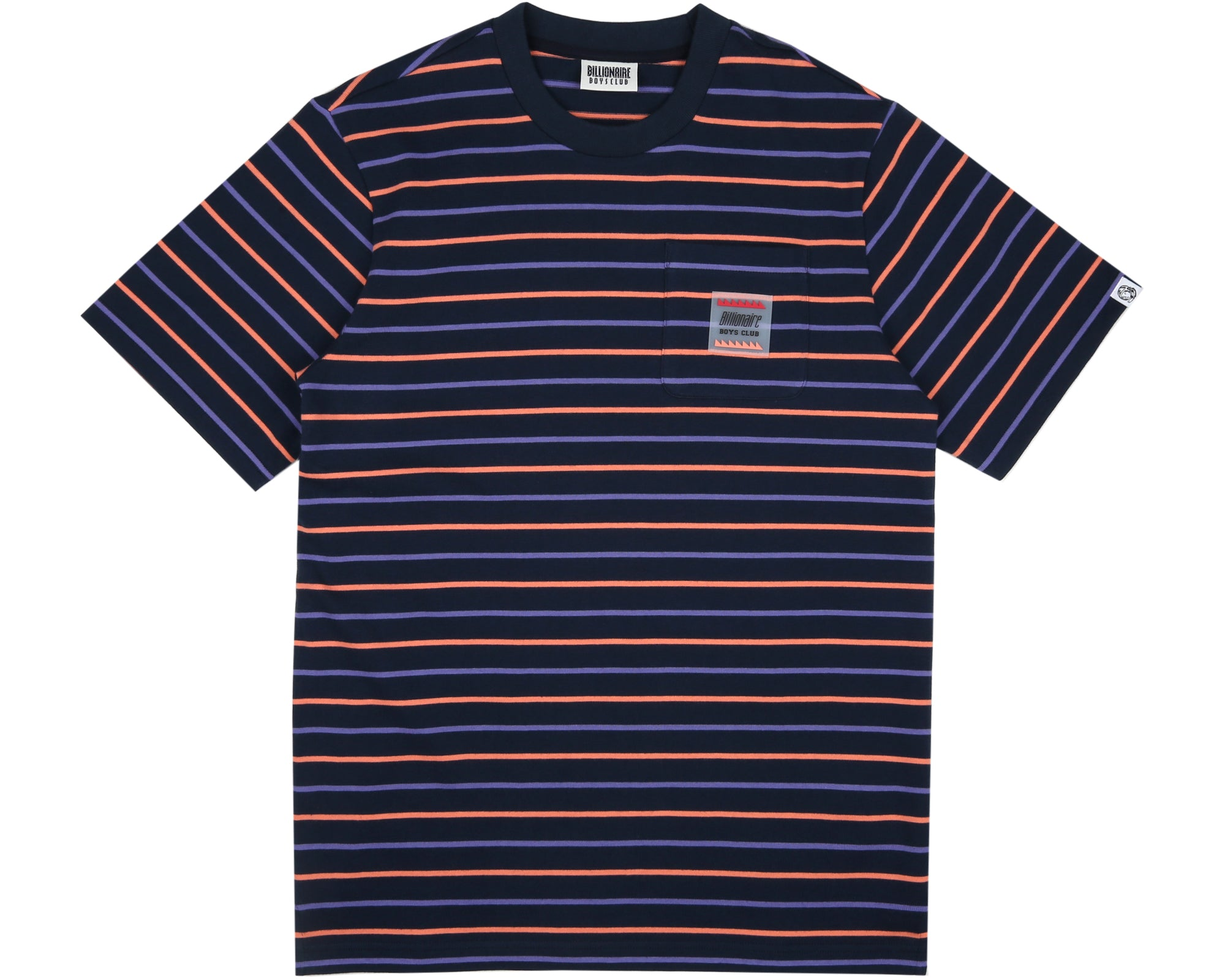 WOVEN STRIPE POCKET T-SHIRT - NAVY