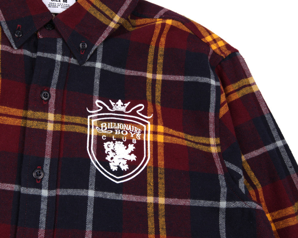 BBCICECREAM CREST CHECK SHIRT - BURGUNDY CHECK