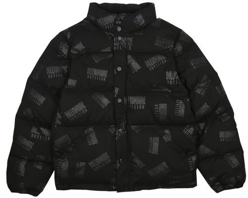 CORD REPEAT PRINT PUFFA JACKET - BLACK