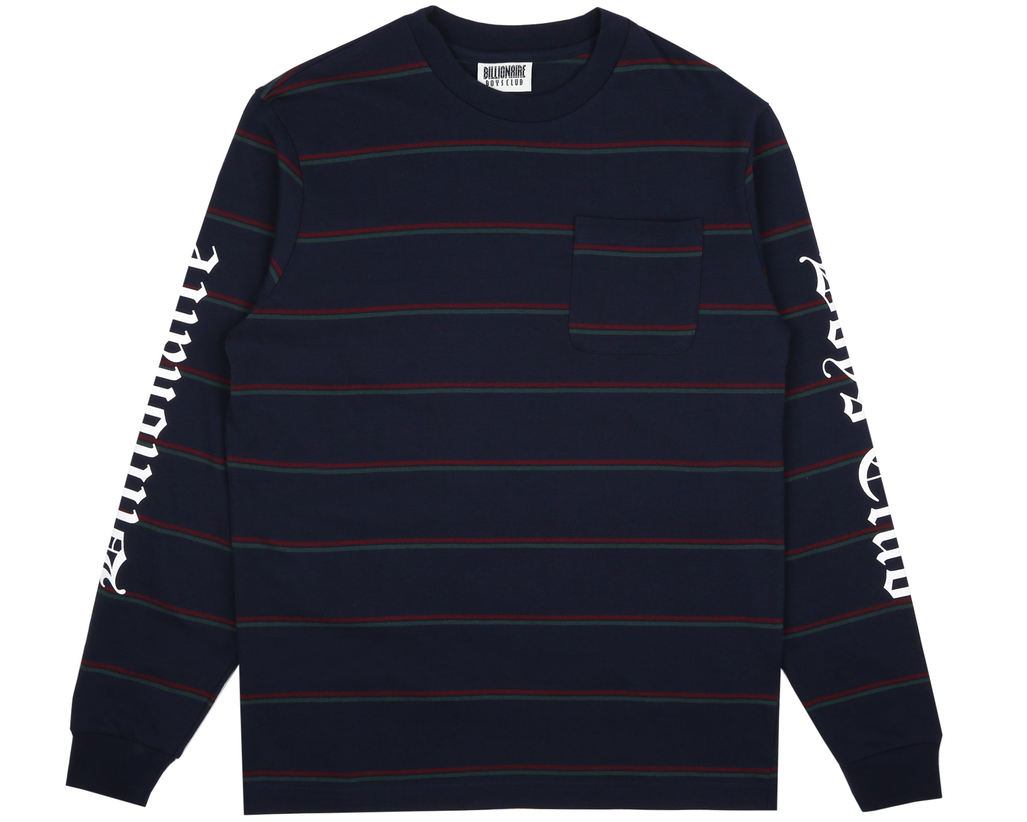 STRIPED L/S POCKET T-SHIRT - NAVY