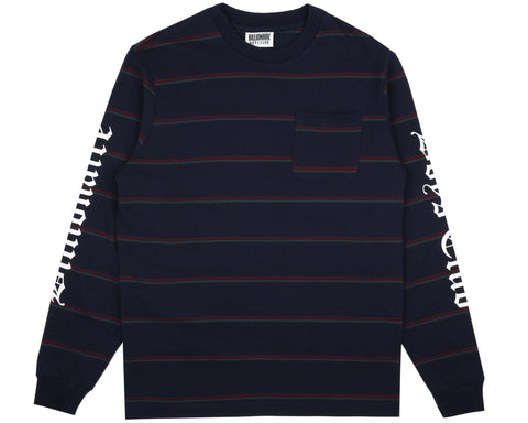 Billionaire Boys Club Pre-Spring '19 STRIPED L/S POCKET T-SHIRT - NAVY