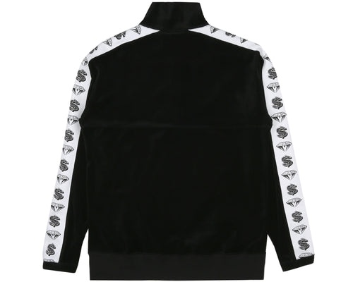 VELOUR 1/2 ZIP TRACK TOP - BLACK