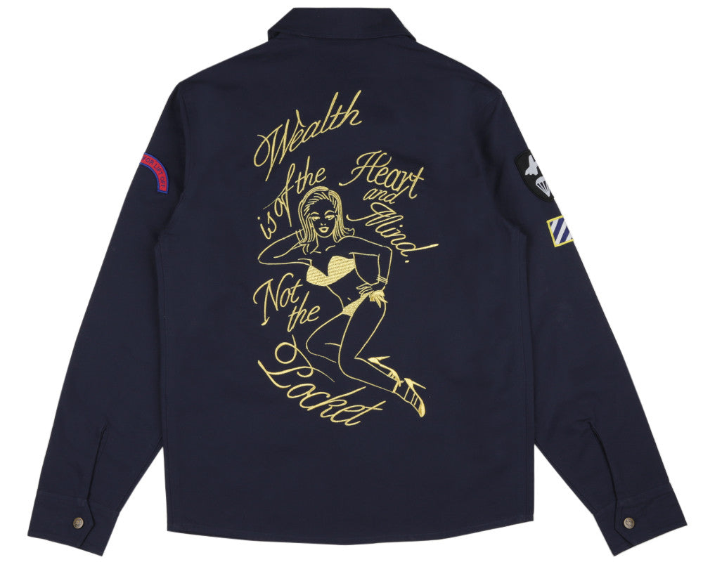Billionaire Boys Club Spring '17 NOSE ART EMBROIDERED SHIRT - NAVY