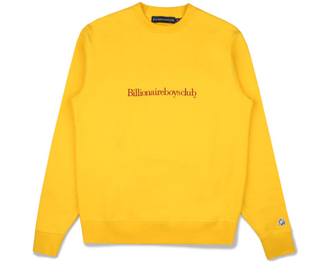 Billionaire Boys Club Fall '19 EMBROIDERED LOGO CREWNECK - YELLOW