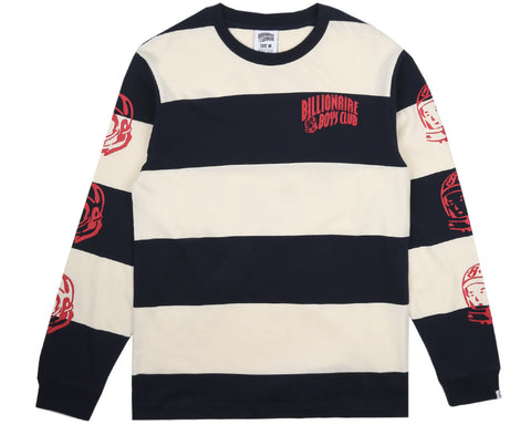 Billionaire Boys Club Pre-Spring '17 SPACE PARK LONG SLEEVED STRIPED T-SHIRT - OFF WHITE/NAVY
