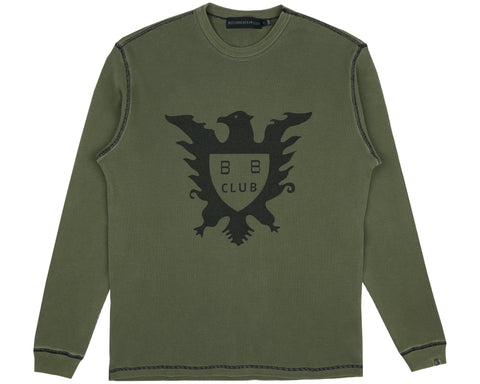 Billionaire Boys Club Spring '19 OVERDYED L/S WAFFLE T-SHIRT - OLIVE