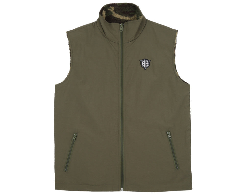 Billionaire Boys Club Spring '17 REVERSIBLE FLEECE GILET - OLIVE/CAMO
