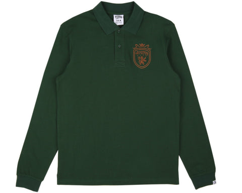 Billionaire Boys Club LONG-SLEEVE CREST POLO SHIRT - FOREST GREEN