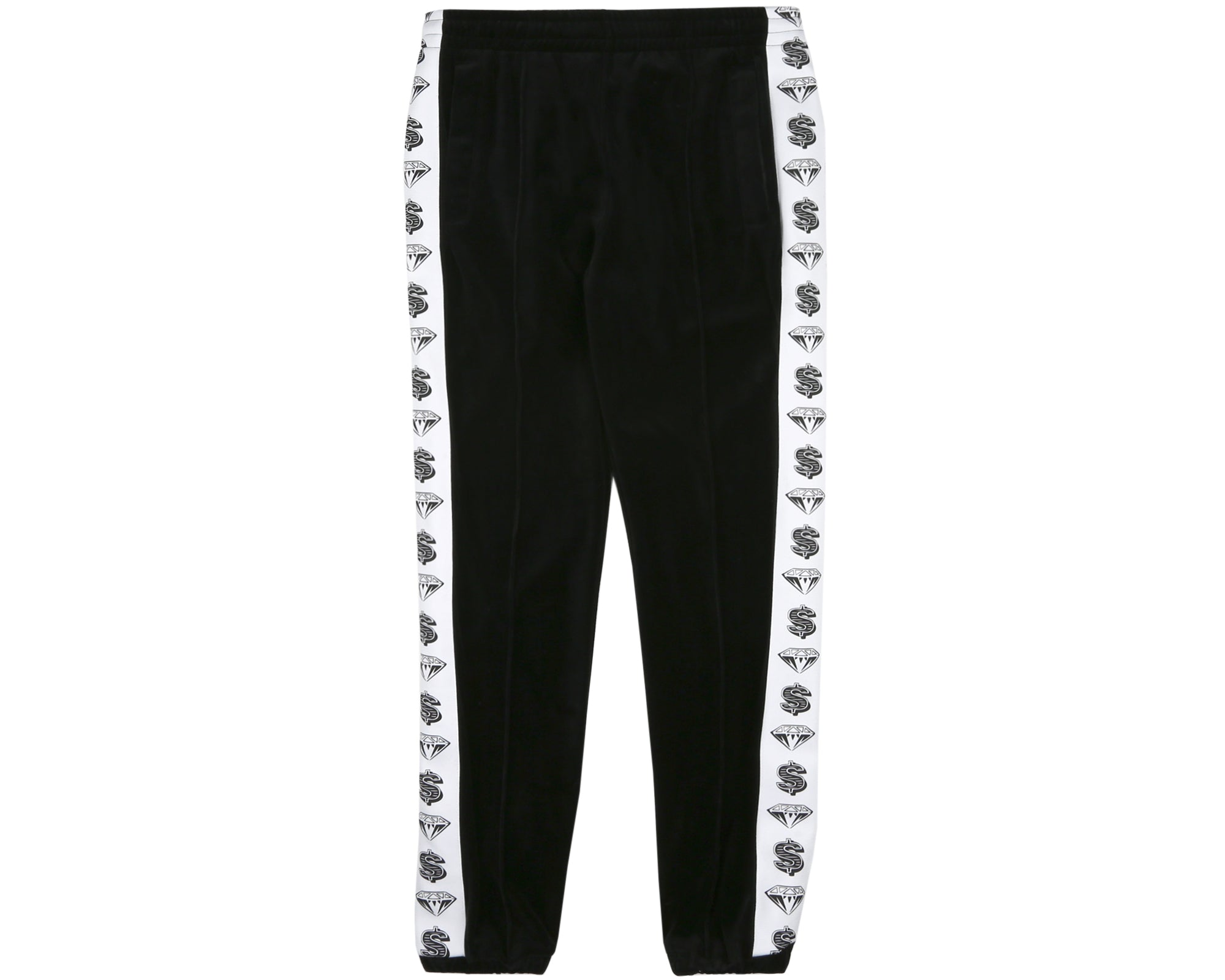 VELOUR TRACK PANTS - BLACK