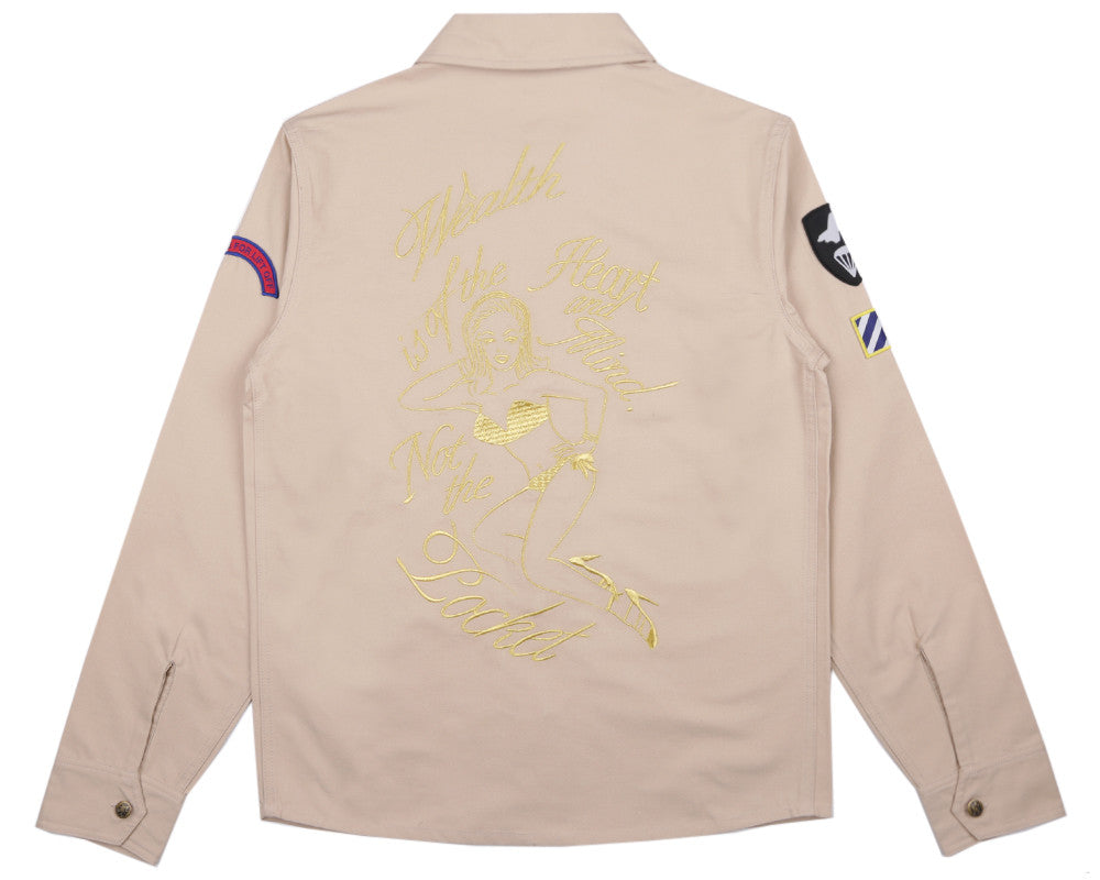 Billionaire Boys Club Spring '17 NOSE ART EMBROIDERED SHIRT - TAN