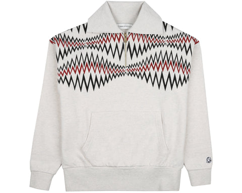 Billionaire Boys Club Spring '19 1/4 ZIP COLLARED SWEATSHIRT - WHITE MARL